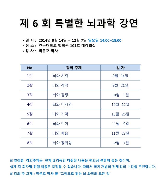 제6회 특별한 뇌과학 (2014-8-11).png : 제 6회 특별한 뇌과학 등록 안내